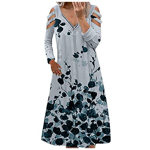 BAIGEE Blusenkleid Damen Langarm V-Ausschnitt Kalte Schulter Reißverschluss Elegantes Boho Kleid Sommerkleid Cocktailkleid Herbst Tunikakleid...