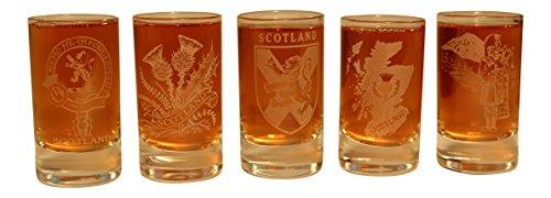 Collins vasos de Clan Crest cristal Dram Tot cristal–Mapa de escudo Shield de Cardo escocés Piper, Piper