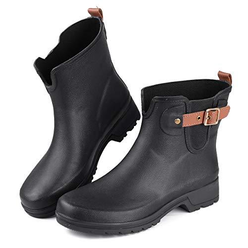gracosy Regenstiefel Damen Wasserdicht Halbhoch Short Rain Boots Waterproof Kurzschaft Stiefel Gummistiefel Chelsea Boots Snow Winter Waterproof Rain Wellies Wellington Boots