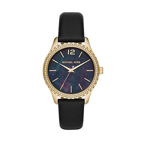 Michael Kors Women's Layton Stainless Steel Quartz Watch with Leather Strap, Black, 18 (Model: MK2911)