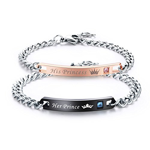 LAVUMO Couples Bracelets His Princess Her Prince Matching Set Anniversary Promise Gifts Stainless Steel 2pcs (His Princess Her Prince (1 pair))