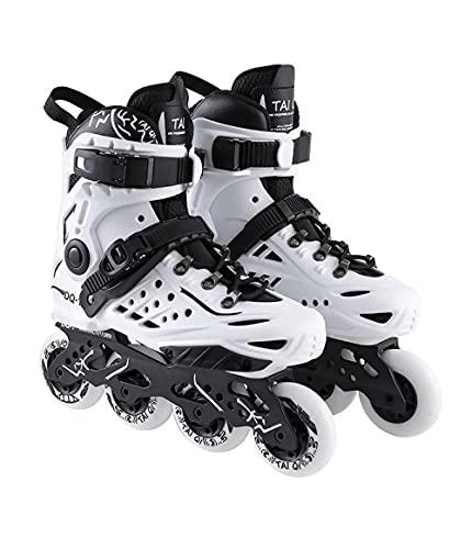 Inline-Skates Kinder Erwachsene, einstellbare lustige Rollschuhe Anfänger im Freien Rollschuhe Komfortable Freestyle Racing Skates-Weiß_38.