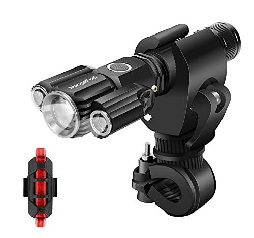 LED Fahrradlicht Set,MangoFeel Wiederaufladbares USB Fahrradbeleuchtung IPX6 wasserdichte Fahrradlampe Vorne Rücklicht Set für Licht Mountainbike & Fahrrad