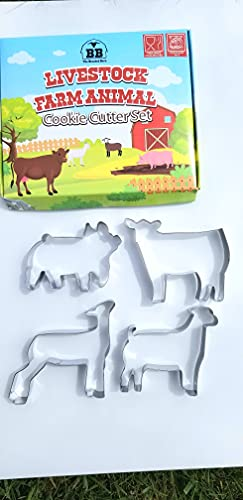 Livestock Farm Animal Stock Show Cookie Cutter Stainless Steel Set Show Steer Pig Goat Lamb