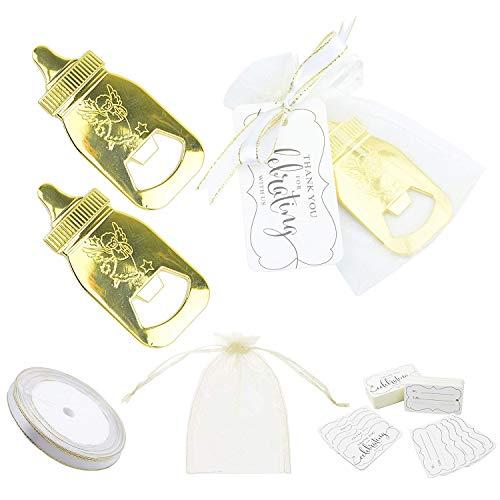 Makhry 12 pezzi Forma di Biberon Apribottiglie Baby Shower Souvenir di Favore del Partito per i tuoi Invitati Bomboniere con Pacchetto Regalo con Etichetta Nome Tabella (oro)