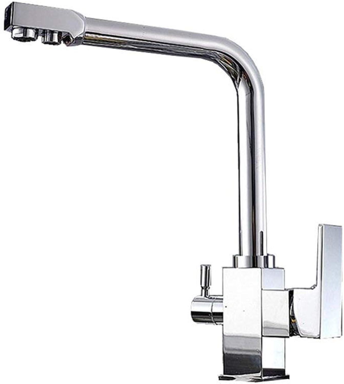 XHCP Küchen-Reiner Wasserhahn Alles kupferne heie und kalte Mischen drehen Multifunktionswasser-Reinigungsapparat DREI in einem Hahn-Doppelgriff-Einzelloch