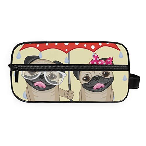 DEZIRO Twee Honden Met Paraplu Draagbare Reizen Toilettas Waterdichte Make-up Organizer Cosmetic Bag Pouch Voor Vrouwen Meisje