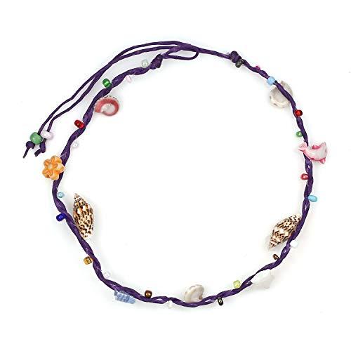 Idin Jewellery - handgemaakte schelpen met meerkleurige parels paars waxsnoer enkelbandje