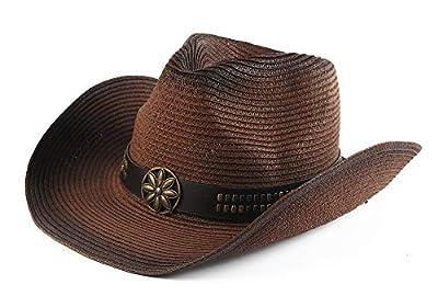Melesh Adult Sun Straw Western Cowboy Hat Colored (Dark Coffee)