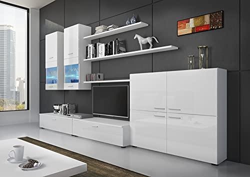 Skraut Home - Mobile TV da soggiorno e pranzo contemporaneo, illuminazione a LED, Bianco Laccato e...