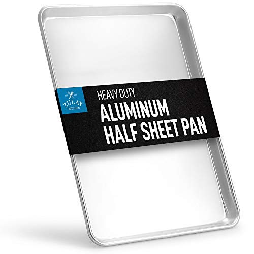Zulay Large Aluminum Baking Pan - Half Sheet (13' x 18') Baking Sheet For Oven - Perfect Cookie Sheet For Baking, Commercial Or Home Use - Heavy Duty & Encapsulated Rim Half Sheet Pans