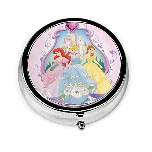 Dis-ney Princess Castillo Dis-neyprincess jpg Caja de medicina redonda estilo de moda caja de medicina 3 cuadrícula caja de medicina