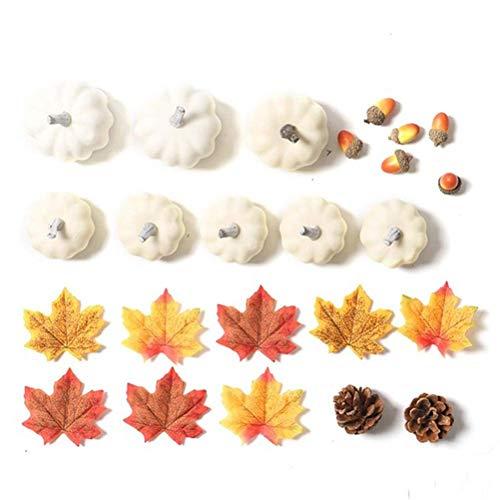 LLSS Künstliche Weiße Kürbisse Halloween Simulation Weißer Kürbis Ahornblatt Faux Harvest Kürbisse Frucht Requisiten Für Hochzeit Thanksgiving Halloween Saisonale Feiertag Tischdek