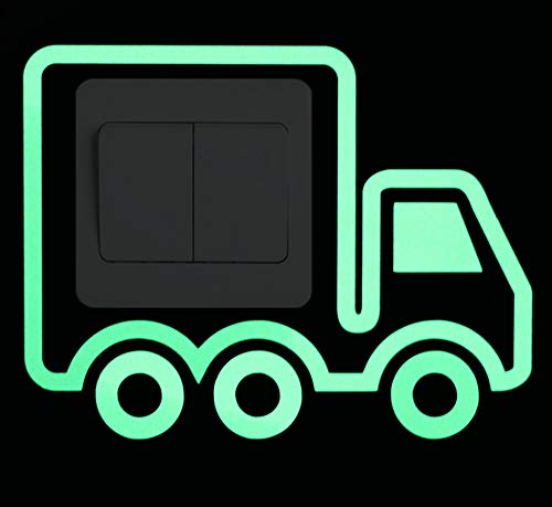 ZZSXC Cartoon Donker Schakelaar Sticker Stickers Huisdecoratie Lichtgevende Vrachtwagen Stickers Kinderkamer Diy Decoratieve Vrachtwagen Bus Stickers