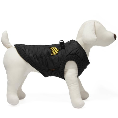 Gooby Bomber Vest for Dogs, X-Small, Black
