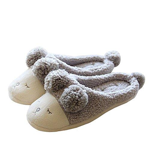 Candora - Zapatillas de invierno suave y difusa de piel sintética para mujer,...