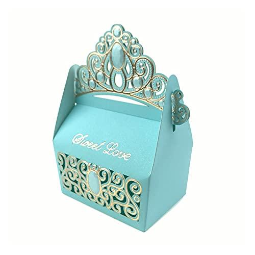 MAUAP 10 unids Royal Shiny Gemstone Crown Candy Candy Fiesta Favors Favores Caja Caja de cumpleaños Caja de Dulces Recuerdo de la Boda (Color : Blue, Gift Box Size : S)