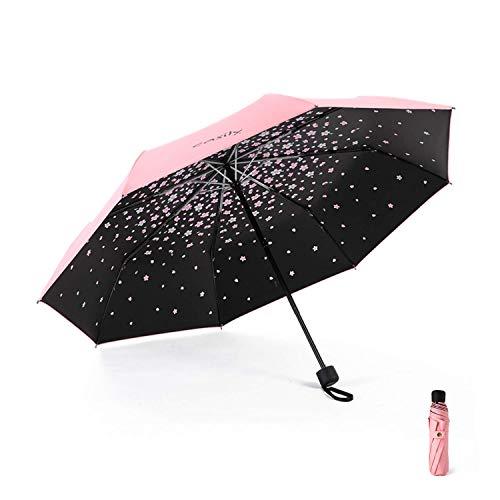 Meiyijia Paraguas Plegable, Mini Paragua,Paraguas Ultraligero, (99% UV Resistencia &100% Impermeable) Doble-Uso Paraguas Del Sol/Lluvia, Conveniente para Viajes(Flor de cerezo rosa Expandir 96cm)