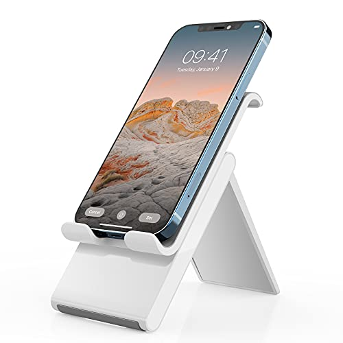 Adjustable Cell Phone Stand,SAIJI Foldable Desktop Phone Holder Cradle Dock for Office,Compatible with Phone 11 Pro xs xr x se 8,All Android Smartphones-White