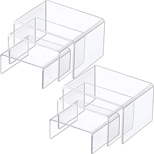 Chuangdi 2 Sets Clear Acrylic Display Risers, Jewelry Display Riser Shelf Showcase Fixtures (Medium Set, Clear)