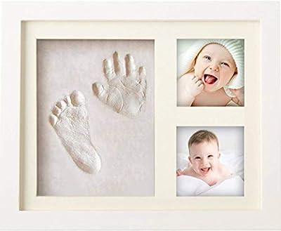 BraceTek - Kit de Marco Para Manos y Huellas de bebé para niño y niña - marcos de arcilla y madera - No se agrieta al secar