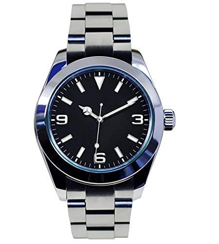 Tickwatch Herren-Armbanduhr, 39 mm, schwarzes Zifferblatt, automatisch, mechanisch, Saphirglas, Edelstahl, mechanische Armbanduhr