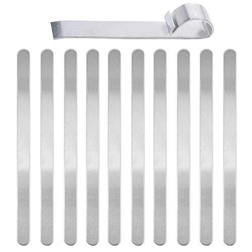 DEDC 1 Kit di Barra Piegatura per Braccialetti, Strumento per Braccialetti Pieghevoli in Metallo e 10 pz Braccialetti Vuoti in Alluminio Argento
