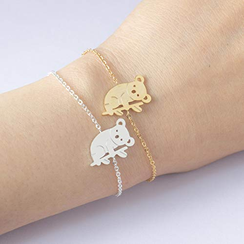 LIUL Preciosas Pulseras de Cuentas rellenas de Oro de Koala para Mujer, Amuleto de Acero Inoxidable, Regalo de Amistad para Mujer