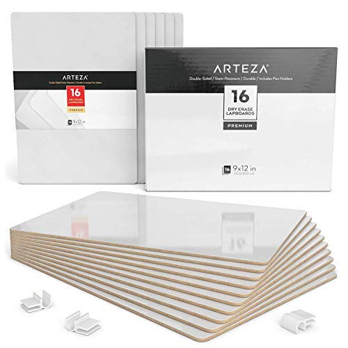 Arteza Dry Erase White Board 9x12 Inch, Bulk Set of 16 Lapboards, Double Sided Dry Erase Whiteboards, Office Supplies for Teachers, Students, Home and Office Work