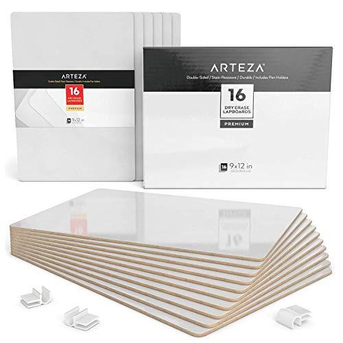 Arteza Schreibtafel | 23cm x 30cm Doppelseitiges Whiteboard | Set mit 16 Stück | Weiße Trocken Abwischbare Tafel | für Lehrer, Schüler, Unterricht, Präsentationen, Büroarbeit