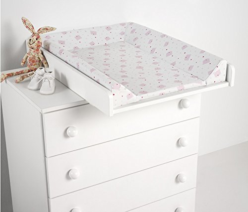 Cambiador con tapizado osos corazones, color blanco y rosa