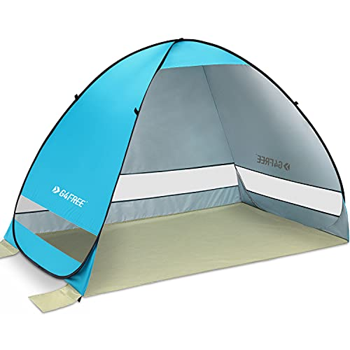 G4Free Outdoor Automatic Pop up Instant Portable Cabana Beach Tent 2-3 Person Camping Fishing Hiking Picnicing Anti UV Beach Tent Beach Shelter, Sets up in Seconds(Blue)