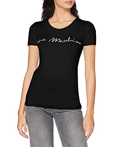 Love Moschino Womens Short Sleeve Italic Font Logo T-Shirt, Black, 48