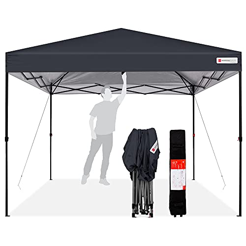 Best Choice Products 10x10ft 1-Person Setup Pop Up Canopy Tent Instant Portable Shelter w/ 1-Button Push, Straight Legs, Wheeled Carry Case, Stakes - Gray