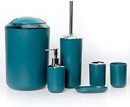 GMMH zestaw przyborów łazienkowych, 6-częściowy, dozownik mydła, szczotka do muszli klozetowej, komplet łazienkowy, kolor ...