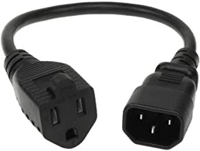 SF Cable 1 ft 18 AWG Monitor Power Adapter Cord, NEMA 5-15R to IEC320 C14