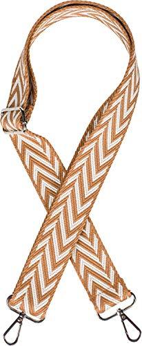 styleBREAKER Bolsillos correa de hombro ajustable con patrón de zigzag, correa de bolso intercambiable, mosquetón, unisex 02013022, color:Marrón-blanco