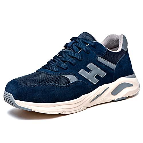 Zapatos de Trabajo,Zapatos de Seguridad Hombre Punta de Acero Parte Superior de Piel de Ante,Unisex Antideslizante Respirable Anti-Rotura y Anti-puñaladas,Zapatos de construcciónEU 36-45