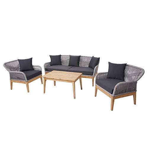 Mendler Gartengarnitur HWC-H56, Lounge-Set Sitzgruppe Sofa, Seilgeflecht Massivholz Akazie Spun Poly - Kissen dunkelgrau