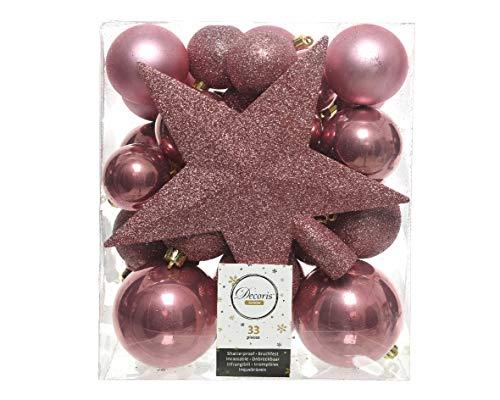Christmas-Decorations 33er Set Kunststoff - Weihnachtskugeln Mix mit Sternspitze Altrosa