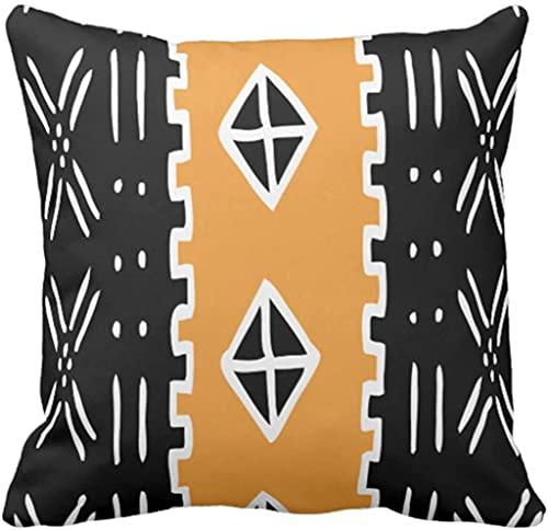 BONRI Funda de almohada Ankara Mud Mudcloth Kente Africano Tribal Rasta Decoración del Hogar Funda de Almohada Cuadrada, 50,8 x 50,8 cm