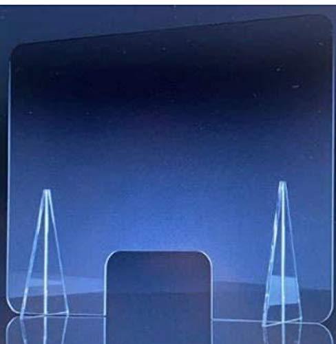 Mampara de metacrilato protectora low cost para mostrador con amplia ventanilla para mostrador ofician negocios farmacias 80X120