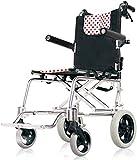 Dljyy Silla de Ruedas Plegable de Aluminio de Peso Ligero, Ultra Ligero de Ancianos Adulit Movilidad Walker Andador Compacto sillas de Ruedas for Transporatio Interior y GLL Almacenamiento fácil