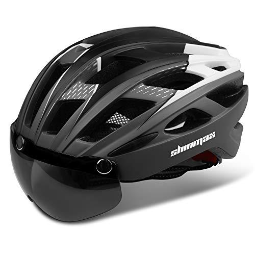 Shinmax Fahrradhelm,CE-Zertifikat,Fahrradhelm mit Abnehmbarer Schutzbrille Visier für Herren Damen Erwachsene Radhelm Einstellbarer Sicherheitsschutz LED Rücklicht Skateboarding Ski Snowboard NR-096