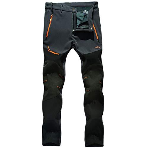 LUI SUI Pantaloni da Trekking da Esterno da Uomo Foderati in Pile Softshell Pantaloni da Sci da Trekking Caldi Invernali addensati con Tasche con Zip