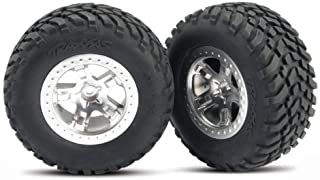 Traxxas 5873 SCT Off-Road Racing Tires Pre-Glued on SCT Satin Chrome, Beadlock-Style Wheels, TSM Rated (pair)