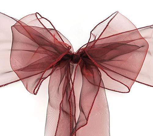 Ottobre Elf Fascia in organza per sedia, fiocchi, fiocchi, fiocchi, fiocchi, per matrimoni, feste, compleanni, Wine, 10 pezzi