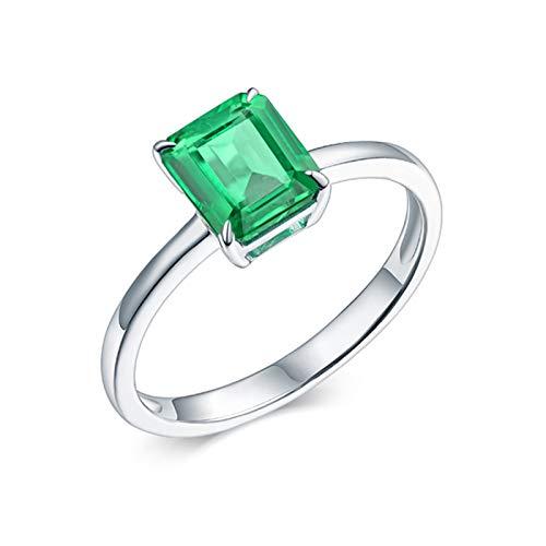 AtHomeShop Mujer oro blanco 18 quilates (750) asscher verde Emerald