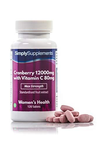 Canneberge 12000mg et Vitamine C 80mg   120 Comprimés   Adapté aux Végétaliens   Jusqu'à 2 mois de bienfaits  SimplySupplements