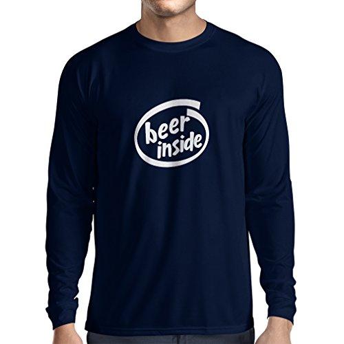 lepni.me Heren T-Shirt Bier Binnenin - voor Bierliefhebbers Grappig Logo, Humoristisch geschenk, Pub, Bar, Feestkleding